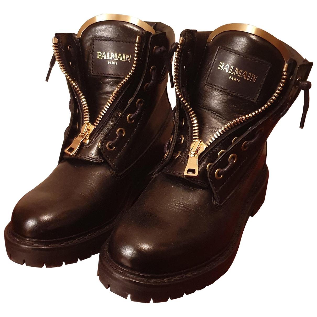 Pierre Balmain - Boots   pour femme en cuir - noir