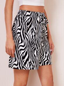 Knot Waist Zebra Striped Shorts