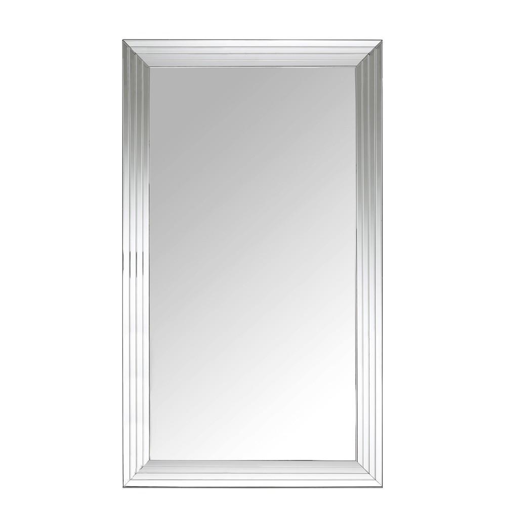 Silberfarbener, facettierter Spiegel 200x120