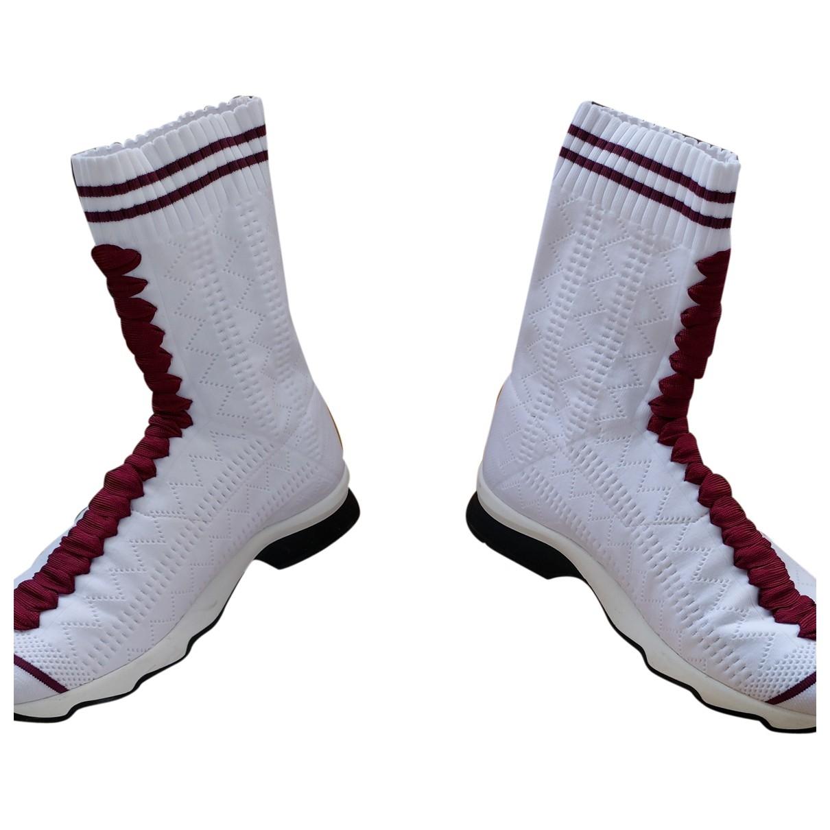 Fendi \N Sneakers in  Weiss Leinen