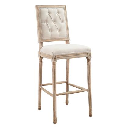 W03489L Avalon Collection Bar Height Stool with Square Tufted Seat Back Rustic Style  Elm Wood Frame and Linen Upholstery in Natural