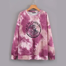 Sweatshirt mit Batik & Buchstaben Grafik