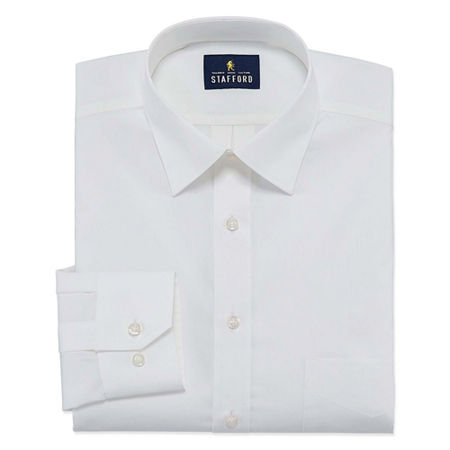 Stafford Travel Easy-Care Stretch Broadcloth Big And Tall Mens Point Collar Long Sleeve Wrinkle Free Stretch Dress Shirt, 18.5 36-37, White