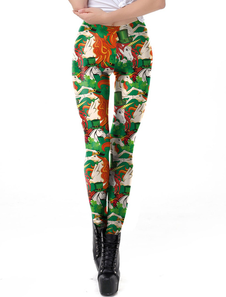 Milanoo Women Leggings St Patricks Day 3D Print Unicorn Tights Skinny Pants Halloween