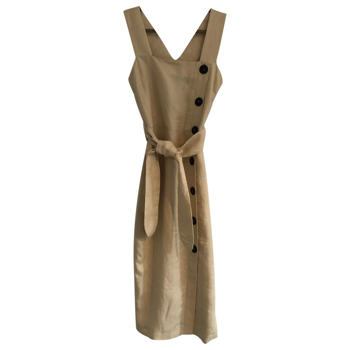 Massimo Dutti \N Kleid in  Ecru Leinen