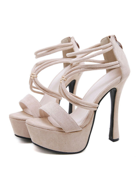 Milanoo Platform High Heel Sandals Womens Strappy Open Toe Stiletto Heel Sandals