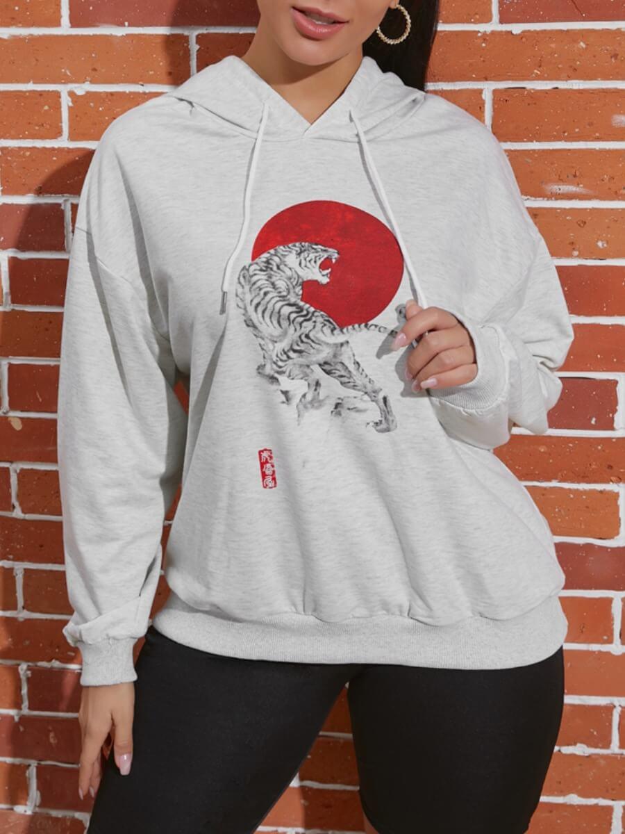 LW Lovely Leisure Hooded Collar Print Grey Hoodie