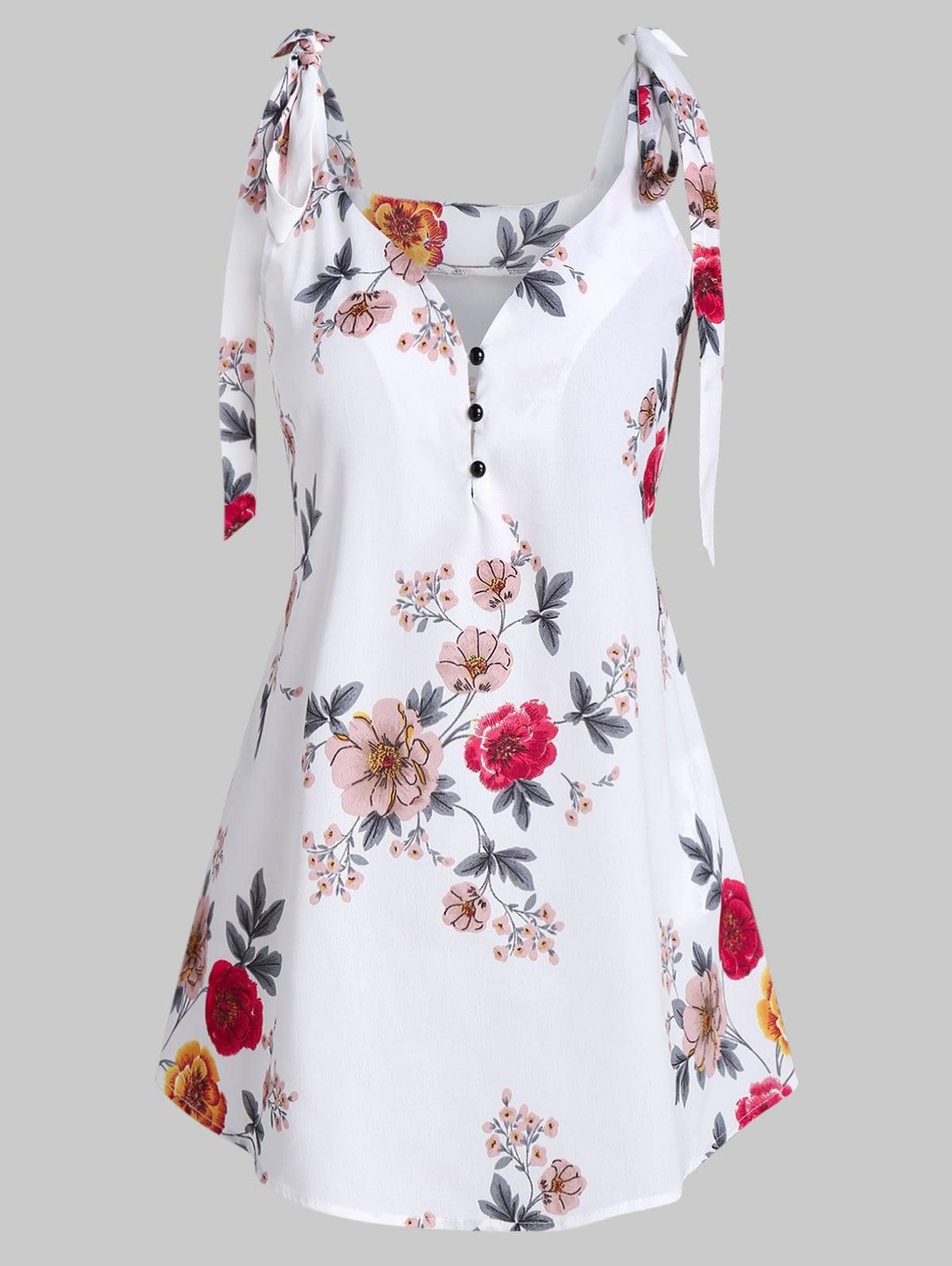 Floral Print Bowknot Half Button Tank Top