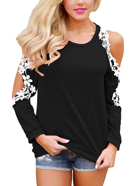 Yoins Black Round Neck Crochet Lace Trim Cold Shouder Top