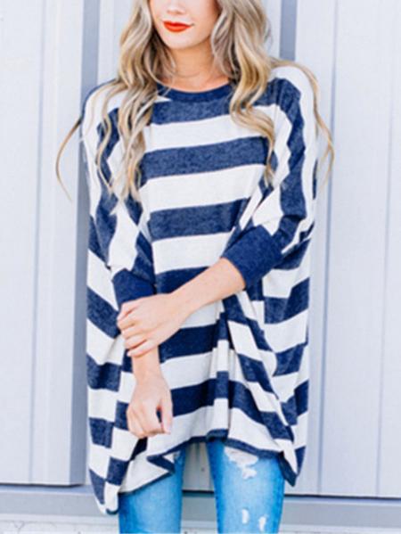 Yoins Stripe Irregular Hem Bat Sleeves Knit Top