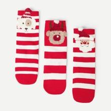 Calcetines de niños de rayas de Navidad 3 pares