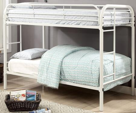 Opal Collection CM-BK931WH-TT 44 Twin Over Twin Size Bunk Bed with Improved Rail Reinforcement  Attached Ladder and Full Metal Construction in