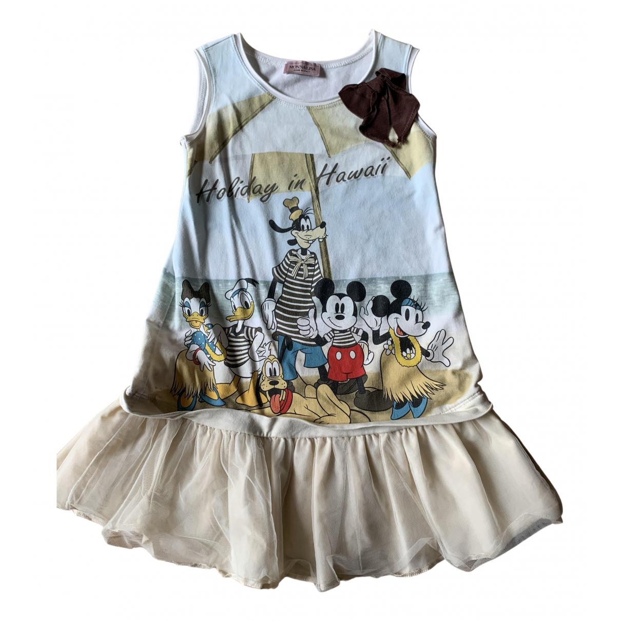 Monnalisa \N Kleid in  Beige Baumwolle - Elasthan
