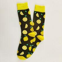 Maenner Socken mit Zitrone Muster