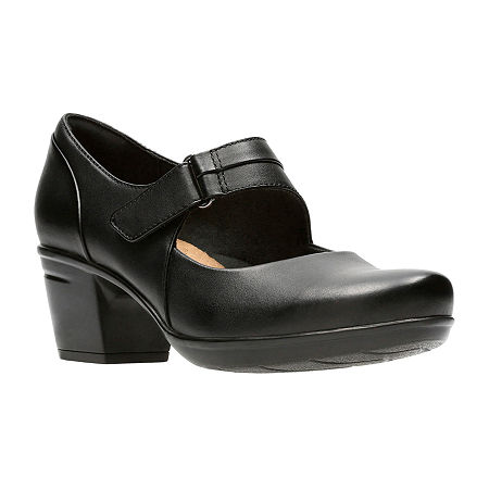 Clarks Womens Emslie Lulin Slip-On Shoe, 6 1/2 Wide, Black