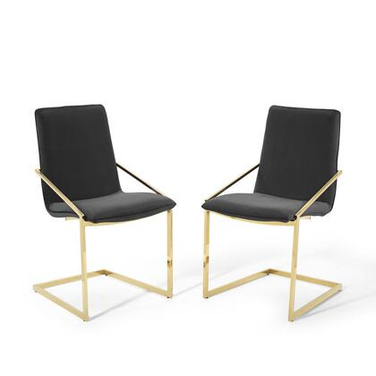 Pitch Collection EEI-4488-GLD-BLK Dining Armchair Performance Velvet Set of 2 in Gold Black
