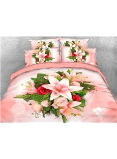 Pink Lilies And Roses 3D Printed 4-Piece Polyester Bedding Sets/Duvet Covers