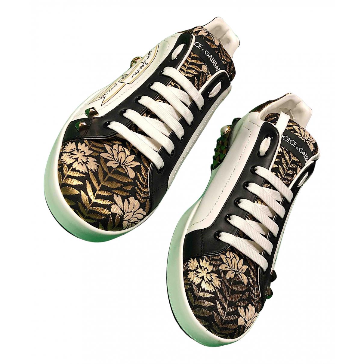 Dolce & Gabbana Portofino White Leather Trainers for Men 44 EU
