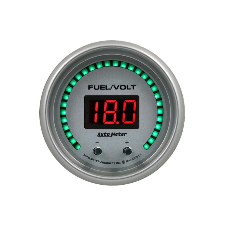 AutoMeter GAUGE; FUEL/VOLT; 2 1/16in. TWO CHANNEL; SELECTABLE; ULTRA-LITE ELITE DIGITAL