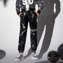 Boys Pocket Side Letter Graphic Leather Look Pants