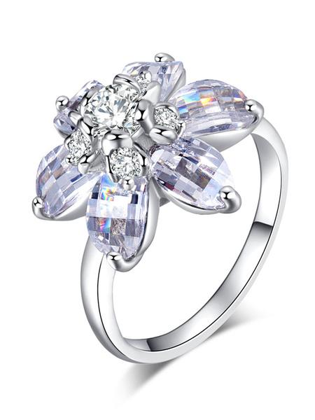 Milanoo Silver Women's Rings Flower Cubic Zirconia Alloy Chic Jewelry