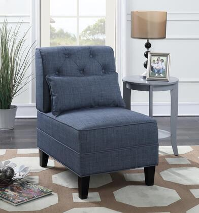 Everton Collection 8767 Accent Chair with Polyester Upholstery  Button Tufting  Piped Stitching  Pillow Included  Tapered Legs and Solid Wood Frame
