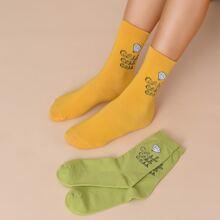 2 pares calcetines con estampado de letra
