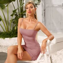 Solid Ruched Bodycon Cami Dress