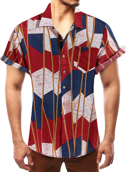 Yoins Men Summer Beach Holiday Multicolor Bohemian Shirt