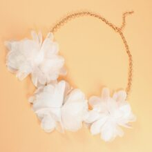 Fabric Flower Decor Necklace