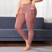 Plus Wide Band Waist Sports Leggings With Phone Pocket