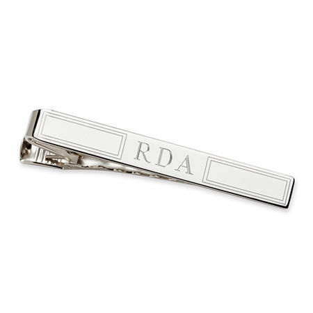 Personalized Sterling Silver Tie Bar, One Size , Gray