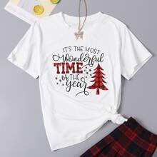 Plus Christmas & Slogan Graphic Tee