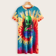 Plus Drop Shoulder Cartoon Graphic Spiral Tie Dye Tee Dress