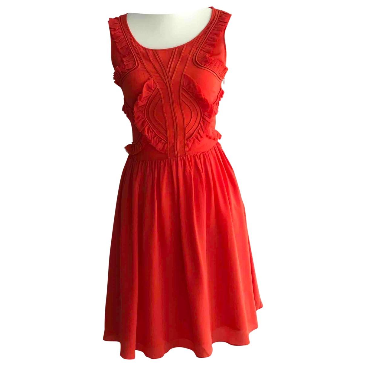 Reiss - Robe   pour femme en soie - orange