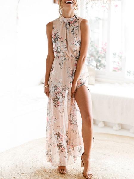Milanoo Boho Maxi Dress Floral Print Chiffon High Collar Split Soft Pink Summer Long Dress For Women