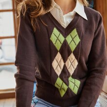V Neck Argyle Sweater