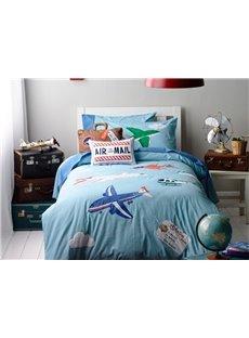 Blue Plane on the Sky Print 3-Piece Cotton Kids Duvet Cover Sets
