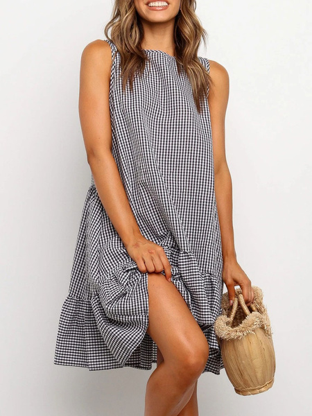 Milanoo Oversized Summer Dresses Ruffles Plaid Cotton Sundress