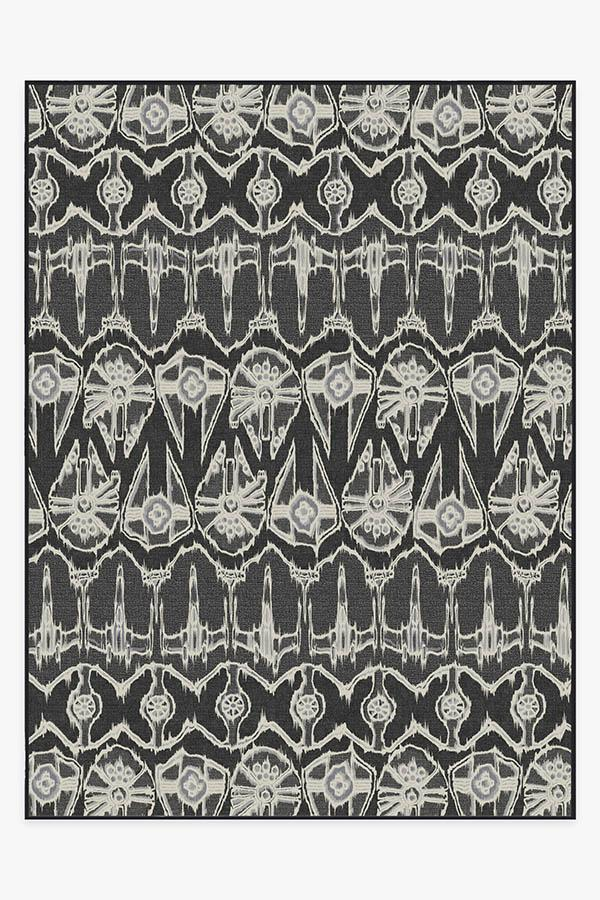 Washable Rug Cover | Corellian Ikat Black Rug | Stain-Resistant | Ruggable | 9'x12'