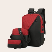 3pcs Zipper Front Backpack With Crossbody Bag