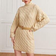 Drop Shoulder Strick Pulloverkleid ohne Guertel