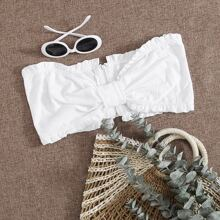 Zip Back Frill Trim Ruched Bandeau Top