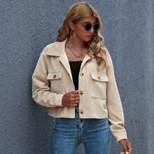 Crop Jacke mit Knopfen vorn und Taschen Flicken