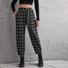 Plaid Pattern Belted Crop Pants
