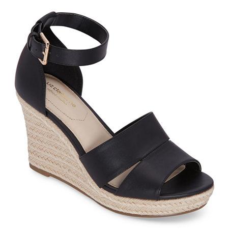 Liz Claiborne Womens Majorca Wedge Sandals, 8 1/2 Medium, Black