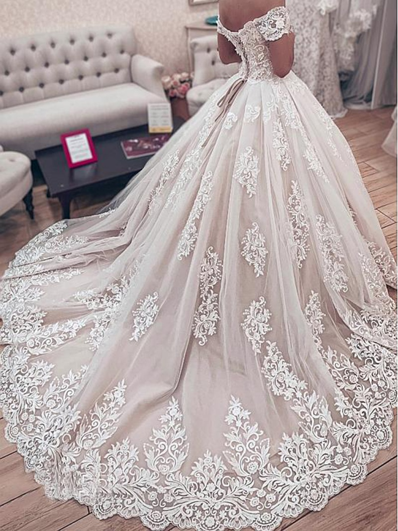 Ericdress Off-The-Shoulder Appliques Ball Gown Wedding Dress