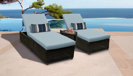 Venice Collection VENICE-2x-ST-SPA Patio Set with 2 Chaises   1 Side Table - Wheat and Spa
