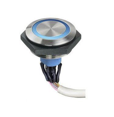 APEM Single Pole Single Throw (SPST) Momentary Yellow LED Push Button Light Switch, IP67, 30.2 (Dia.)mm, Panel Mount,