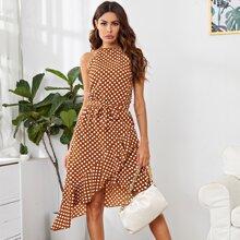 Polka-dot Print Asymmetrical Ruffle Hem Belted Halter Dress